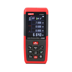 Uni-T UT395C Professional 100M Rangefinder Laser Distance Meter Area Volume Triangle Pythagorean Measurement with USB Data Storage + Color LCD Display