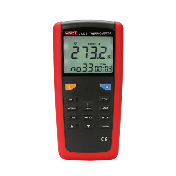 Uni-T UT322 Contact Type Thermometer Dual Input -200°C ~1372°C (-328°F~2501°F) K/J/T/E Type Thermocouple °C/°F /K USB PC Software