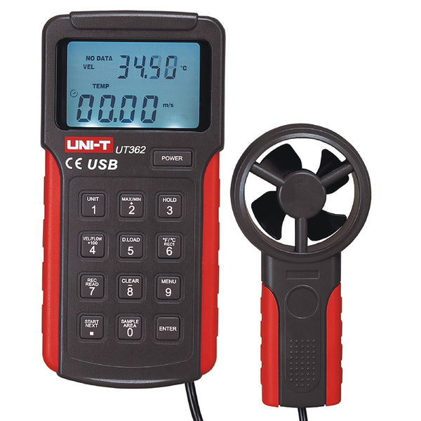 Uni-T UT362 Digital Tachometer High Precision Anemoscope w/ USB Interface Air Flow Meter Anemometer LCD Display