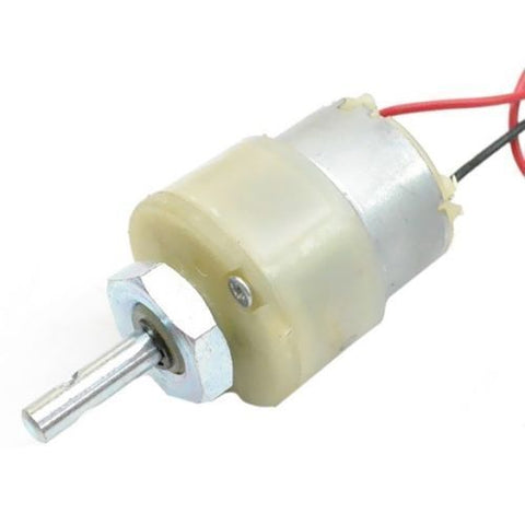 Center Shaft 12v dc gear, geared motor 6 rpm with clam - Techtonics