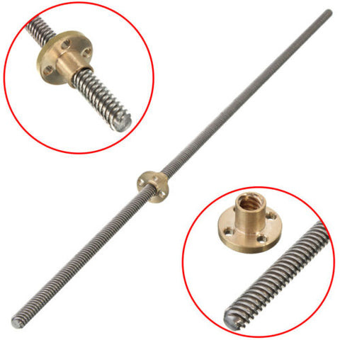 500MM Trapezoidal Lead Screw 8MM Thread 2MM Pitch with Copper Nut