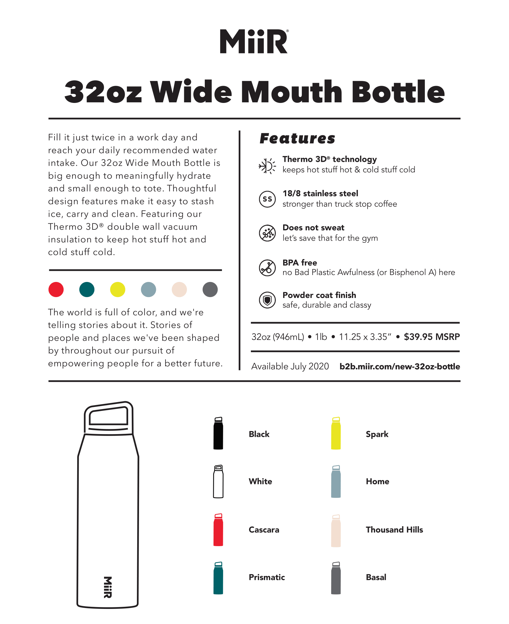 NEW 32oz Wide Mouth Bottle by MiiR