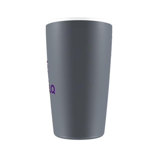 Grey Mug Purple logo