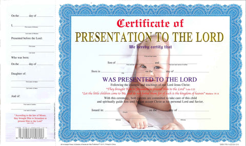 12111 Certificate of presentation Boy