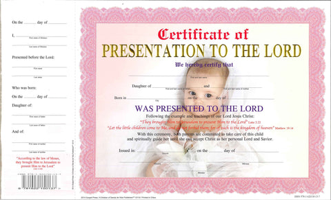 12112 Certificate of presentation Girl