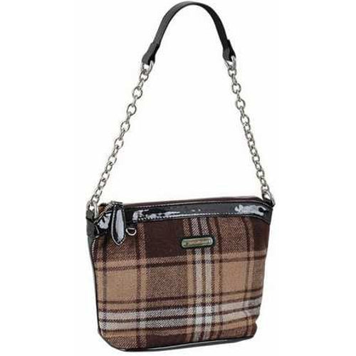 AB Collezioni PU Leather Hand Bag - Brown Tartan