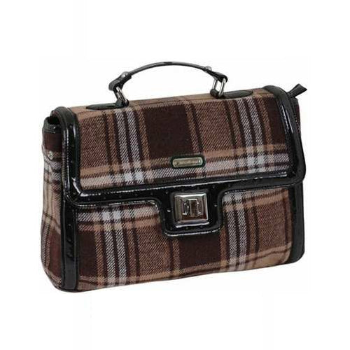 AB Collezioni PU Leather Bag - Brown Tartan