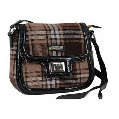 AB Collezioni PU Leather Shoulder Bag - Brown Tartan