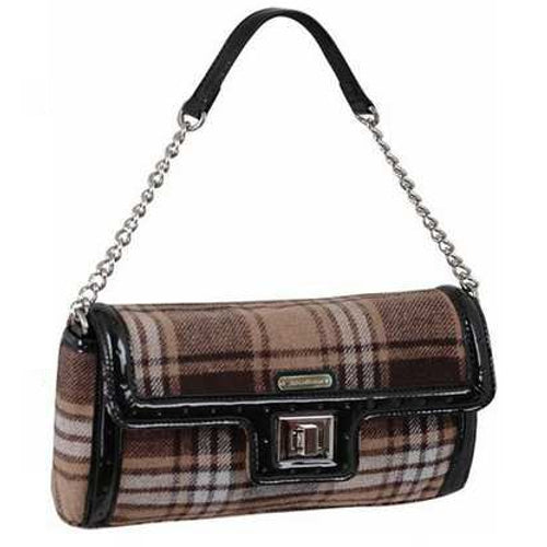 AB Collezioni PU Leather Clutch Bag - Brown Tartan