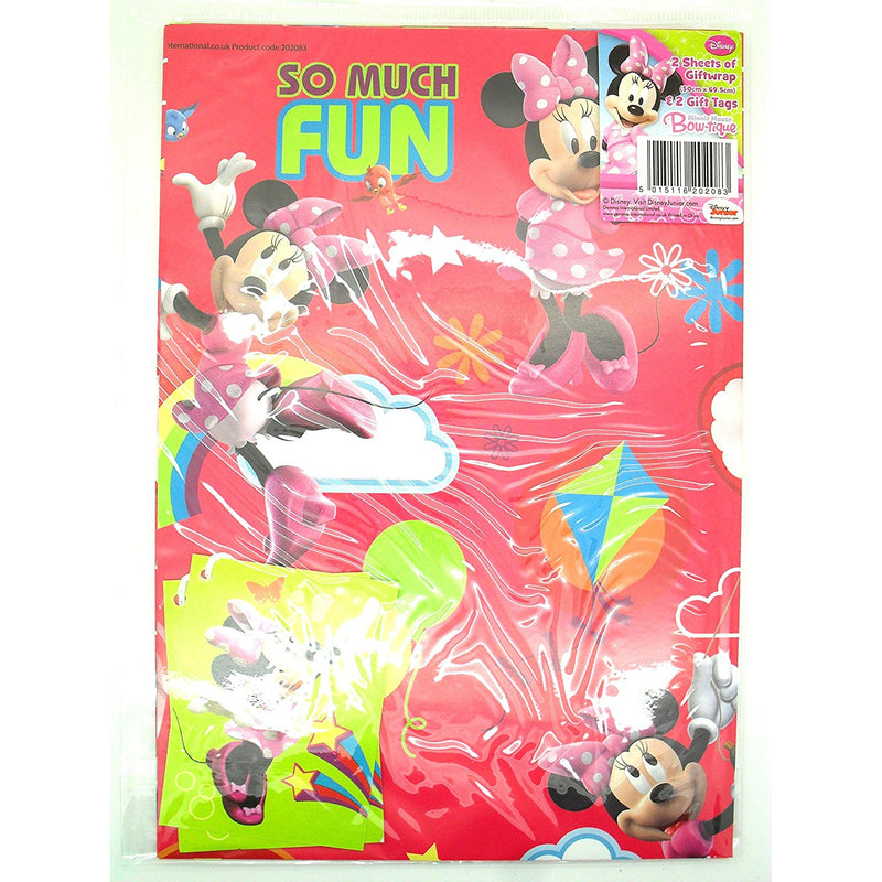 Disney 2 Sheets Minnie Mouse Bow-Tique Gift Wrapping Paper Set with 2 Gift Tags