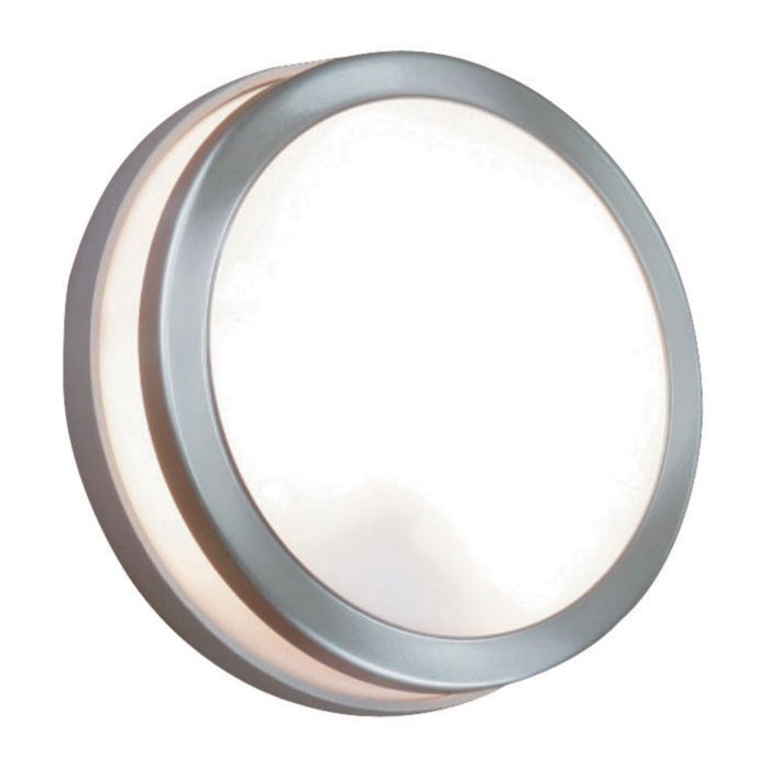 Lothair 10W Satin Chrome Effect Round Outdoor Light