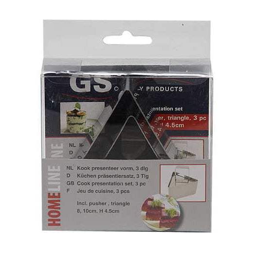 Homeline 2 x Triangle Stainless Steel Cook Presentation Cutters with Pusher