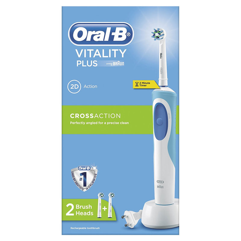 Braun Oral-B Blue Vitality Cross Action Electric Toothbrush With 2 Brush Heads