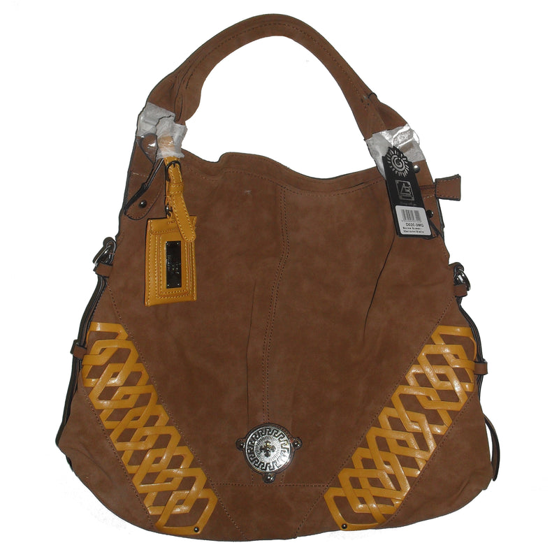 AB Collezioni Tan Queen Suede & PU Leather Shoulder Bag