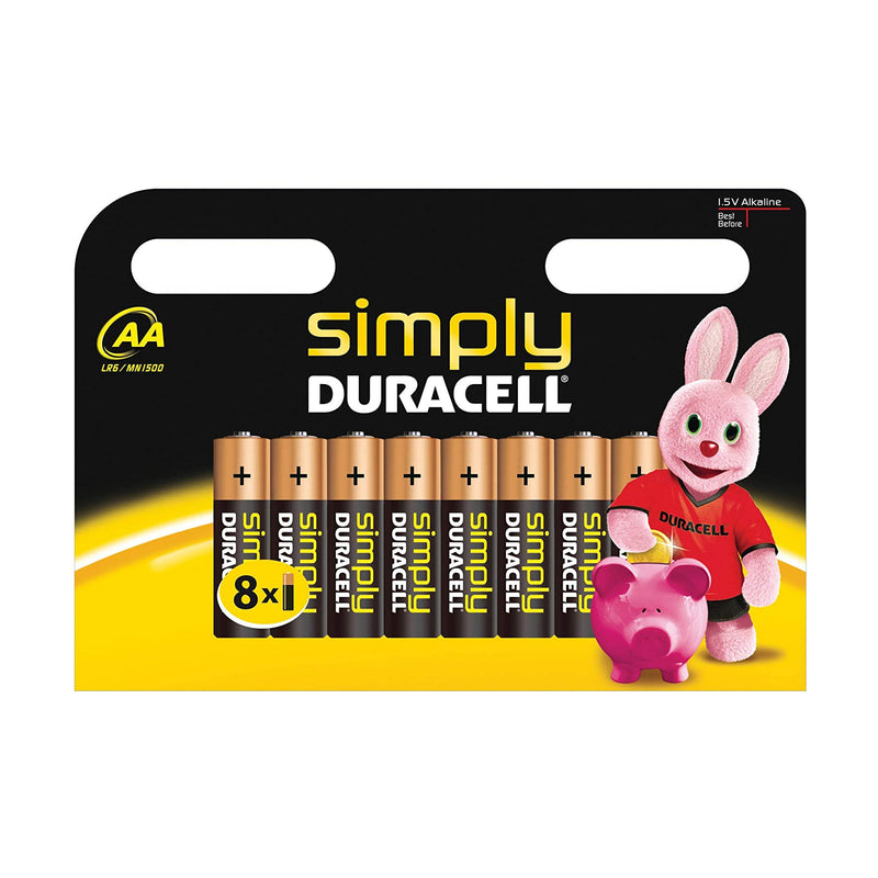 Duracell 'Simply' AA Batteries - Alkaline, Long Lasting , Double A - 8 Pack
