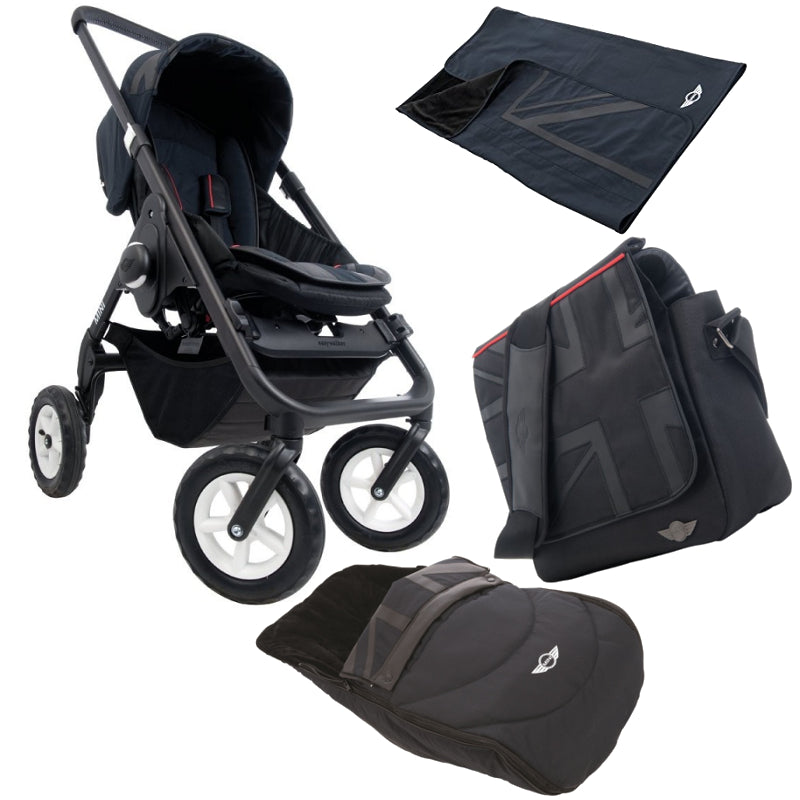 MINI Cooper Baby Black Stroller with Nursery Bag and Blanket