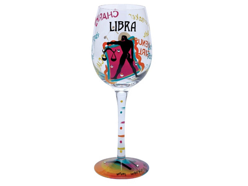 "Lolita ""Libra"" Zodiac Hand Decorated Wine Glass"