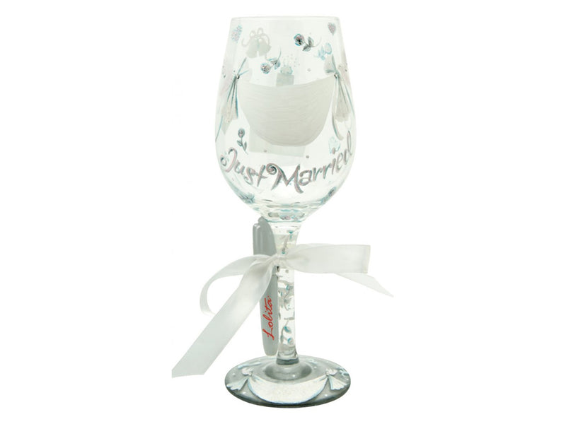 "Lolita ""Just Married"" Hand Decorated Wine Glass with Pen to Personalise"