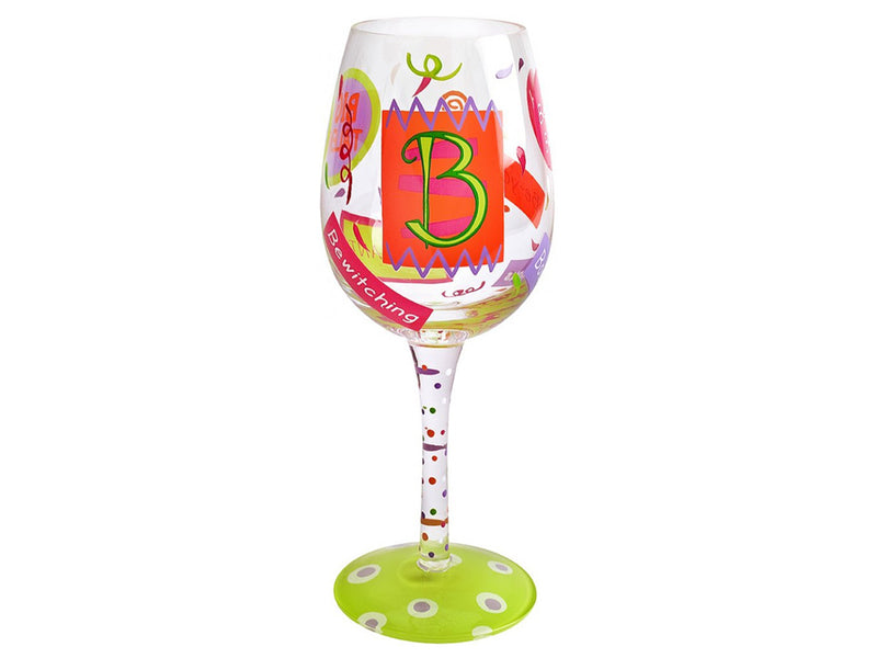 "Lolita Letter ""B"" Hand Decorated Wine Glass"