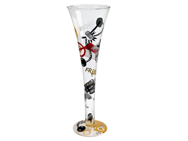 "Lolita ""Divorce"" Hand Decorated Champagne Glass"