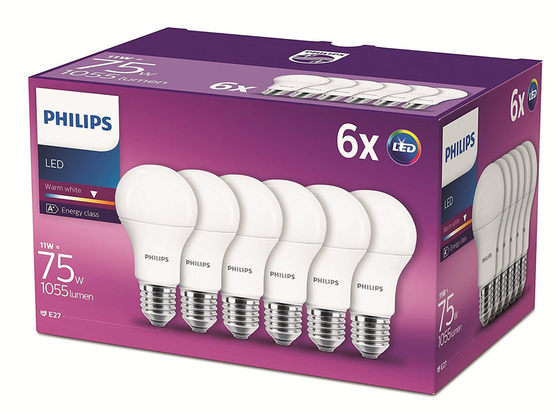 6 Pack Philips 11 - 75W Frosted E27 Edison LED Bulb 1055lm - Warm White