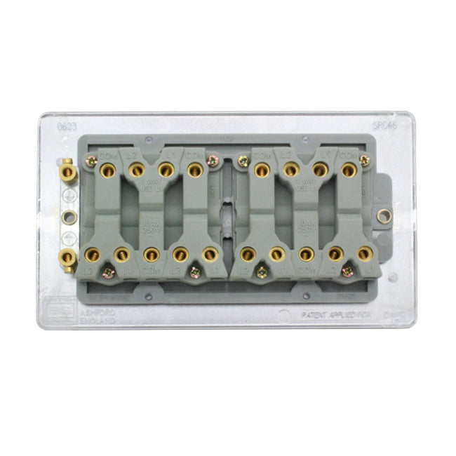 BG Polished Chrome 10A Amp 10AX 6 Gang 2 Way Multiple House Light Switch