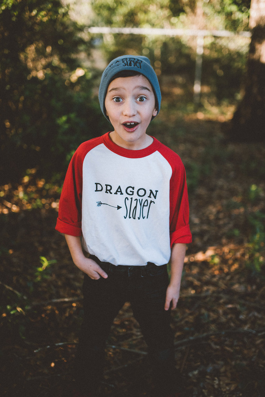 Kids Dragon Slayer Baseball Tee