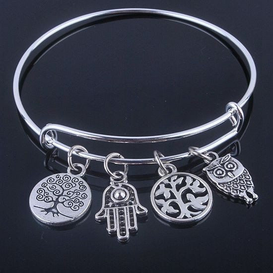 Bracelet - Tree Of Life Silver Adjustable Charm Bangle Bracelet - FREE SHIPPING
