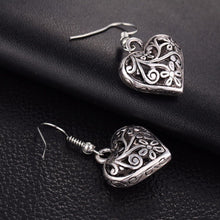 Earrings - Antique Silver Filigree Heart Drop Earring - FREE SHIPPING