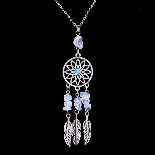 Gemstone Necklace - Silver Feather Dreamcatcher Gemstone Necklace - FREE SHIPPING