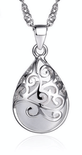 Necklace - Silver Filigree Natural Stone Pendant Necklace