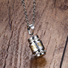 Necklace - Stainless Steel Mini Prayer Wheel Pendant Necklace