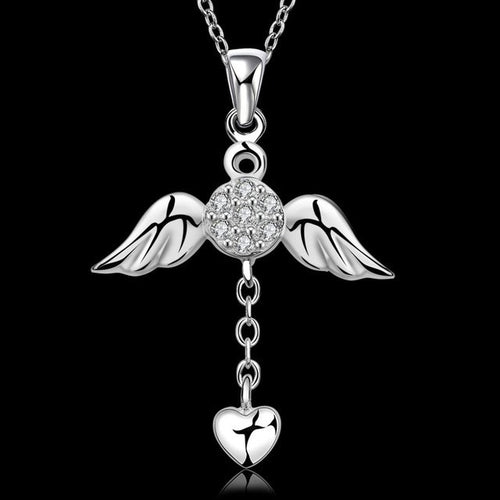 Necklaces - Silver CZ Angel Wing Heart Necklace - FREE SHIPPING