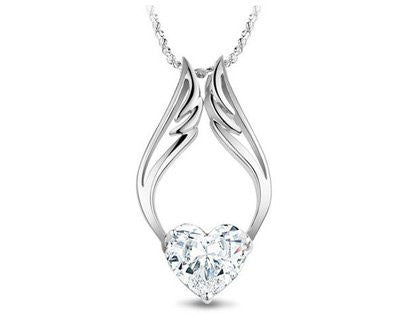 Necklaces - Silver Zircon Angel Wing Heart Necklace - FREE SHIPPING