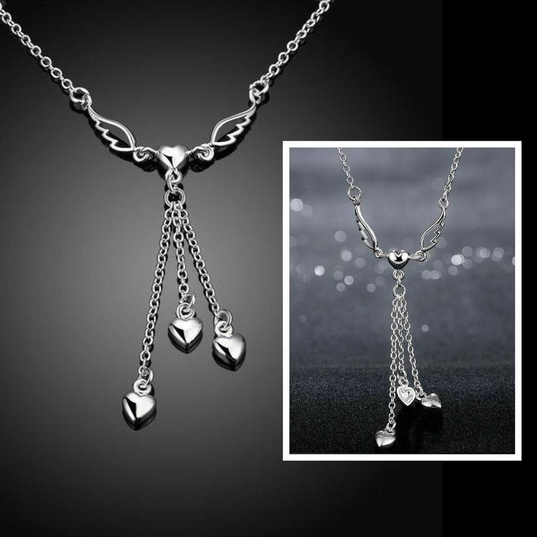 Necklaces - Sterling And Rhodium Angel Wings And Zircon Hearts Necklace - FREE SHIPPING