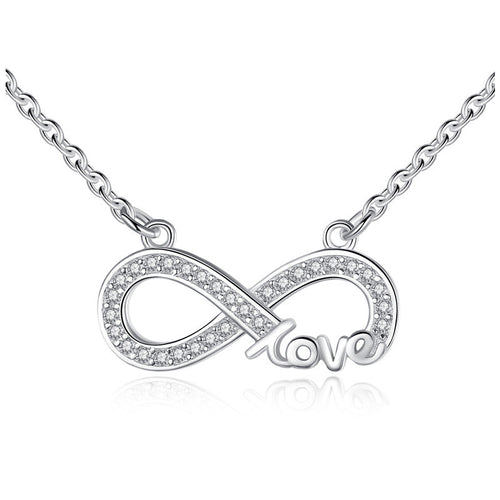 Necklaces - Sterling Silver Austrian Crystal FOREVER LOVE Infinity Pendant