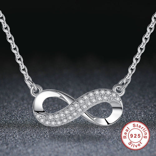 Necklaces - Sterling Silver Crystal Infinity Charm Necklace