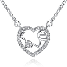 Necklaces - Sterling Silver Heart Crystal LOVE Pendant Necklaces - FREE SHIPPING