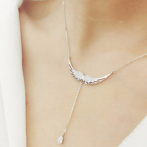 Necklaces - Sterling Silver Zircon Angel Wings Necklace