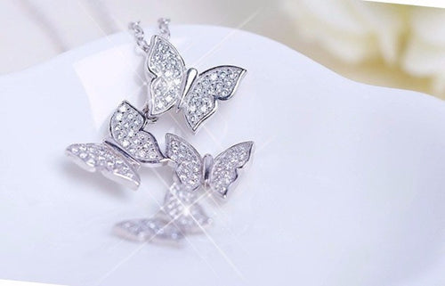 Necklaces - Sterling Silver Zircon Butterfly Necklaces - FREE SHIPPING