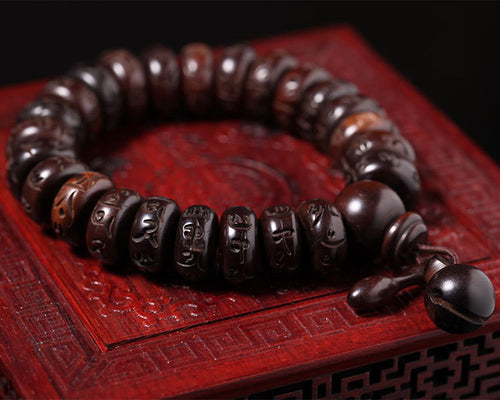 Hand Carved OM Mani Padme Prayer Mala - FREE SHIPPING