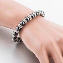 Hematite with Silver and Austrian Crystal Bracelet