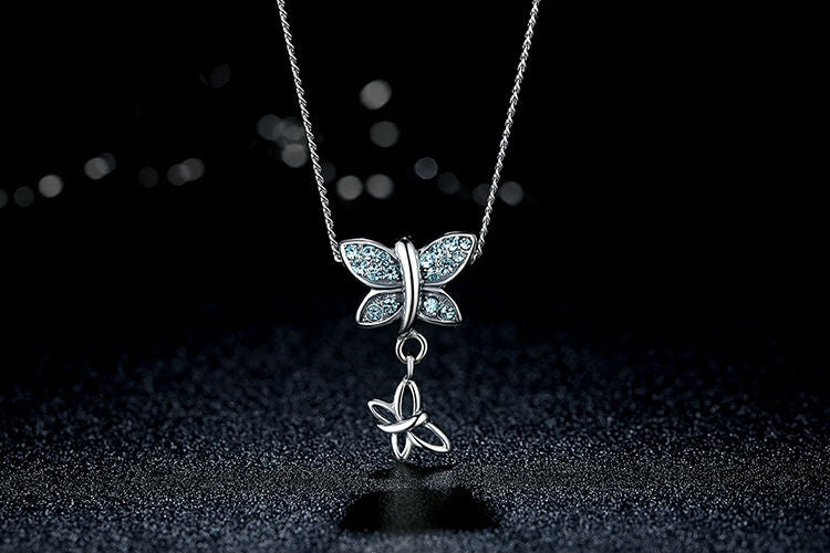 925 Sterling Silver Blue Crystal Butterfly Pendant Necklace - FREE SHIPPING