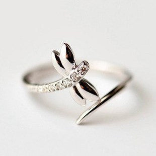 Rings - Sterling Silver Dragonfly Crystal Ring