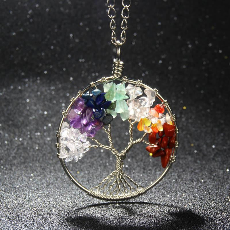 Tree Of Life - Natural Stone Rainbow Chakra Tree Of Life Pendant Necklace - FREE Shipping