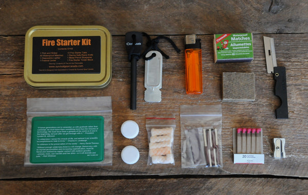 Survival Fire Starter Kit Contents