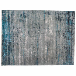 Contemporary Silver and Turquoise Rug