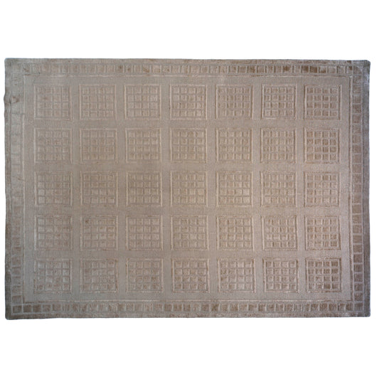 Windowpanes Cut and Loop Tibetan Design Rug