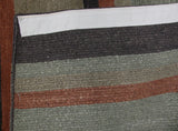 Charcoal and Rust Indian Wool Stripe Rug