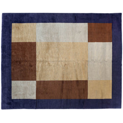 Color Block Tibetan Design Area Rug